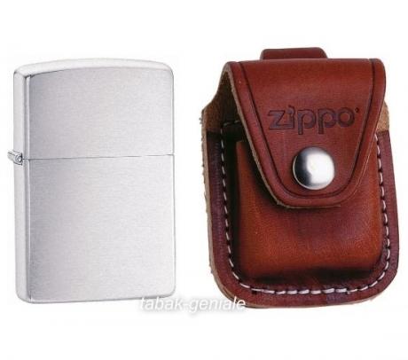 Zippo Set Feuerzeug Chrome Brushed & Tasche braun