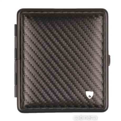 Zigarettenetui Carbonoptik Leder und Rahmen schwarz 18 Zigaretten