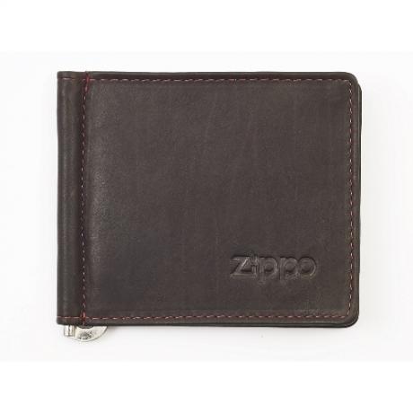 Geldbörse Zippo Leder Mocha Clip für Scheine 6 Karten 10,5x9x1cm