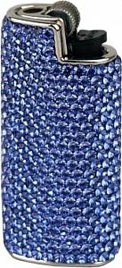 Feuerzeughülle mit Swarovski Elements blau
