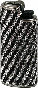 Feuerzeughülle mit Swarovski Elements weiß schwarz