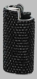 Feuerzeughülle mit Swarovski Elements schwarz