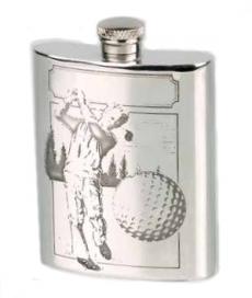 Flachmann Zinn Golfspieler mit Trichter 6oz/180ml