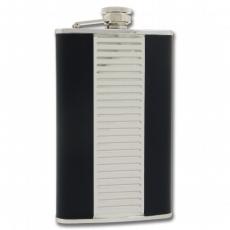 Flachmann groß 270ml Leder schwarz chrom mit Halter
