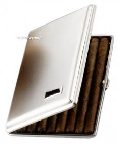 Zigarrenetui Metall nickelarben satiniert fünf Zigarren 13cm Län