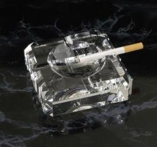 Aschenbecher aus Glas mit vier Ablagen 11x11x4 cm