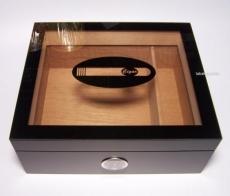 Humidor mit Glasdeckel schwarz matt Außenhygrometer Humidifier
