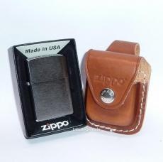ZIPPO Feuerzeug mit Ledertasche in Braun
