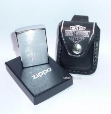 ZIPPO Feuerzeug mit Ledertasche Harley Davidson