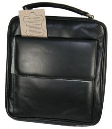 Pfeifentasche für 7 Pfeifen Leder schwarz mit Vortasche