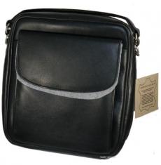 Pfeifentasche für 8 Pfeifen Leder schwarz mit Vortasche