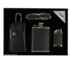 Flachmann Messer Feuerzeug Schlüsseltasche im Set beledert