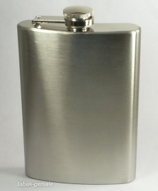 Flachmann Edelstahl 8 oz 225 ml chrom matt mit Halter