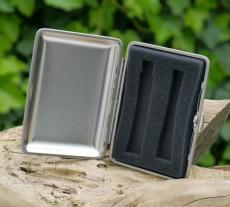 Etui für E-Zigarette Metall chrom satiniert 9,5x7cm