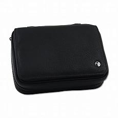 Pfeifentasche Leder 3er Rattrays Leder schwarz mit Vortasche