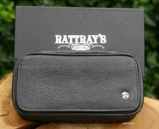 Pfeifentasche Leder 2er Rattrays Leder schwarz mit Vortasche