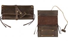 Original MR Drehertasche Leder antik 15.5cm Schnürung Lederband