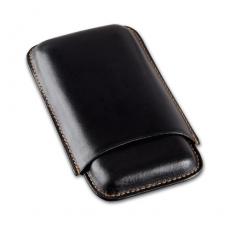 Cigarrenetui 3er Leder schwarz Robusto 15 x 9 cm