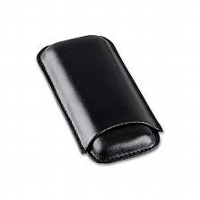 Cigarrenetui 2er Leder schwarz Corona 14.5 x 7 cm