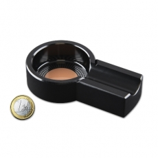 Cigarrenascher Metall rund schwarz mit 1 Ablage