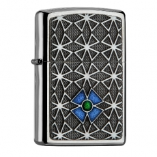 Zippo chrom gebürstet Cross blue / green