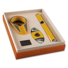 Ascher Cigarren Metall ANGELO Set gelb mit Cutter und Tube