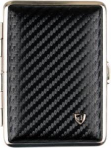 Zigarettenetui echtes Leder schwarz Carbonoptik 14 Zigaretten beledert