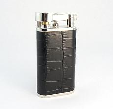 PEARL Pfeifenfeuerzeug Steinzündung Leder kroko schwarz