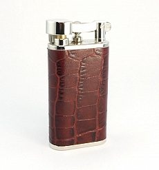 PEARL Pfeifenfeuerzeug Steinzündung Leder kroko braun
