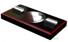 Cigarrenascher Pianolack schwarz/rot 2 Ablagen 23 x12x3cm