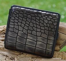 Zigarettenetui Leder dunkelbraun metallic geprägt Rahmen schwarz