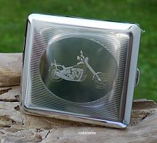 Zigaretten Etui Edelstahl Motiv Chopper Motorrad