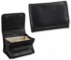 Stellbeutel Leder Nappa schwarz Kautschukfutter 11,5 x 8 cm