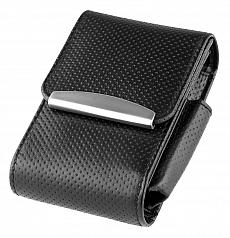 Angelo Zigarettenpackungsetui Leder schwarz perforiert verstellbar