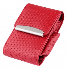 Angelo Zigarettenpackungsetui Leder rot perforiert verstellbar