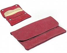 Angelo Feinschnittbeutel Leder pink 14.5x9cm mit Kautschukfach