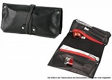 Pfeifen- Rollbeutel Leder Leder schwarz mit vielen Fächern