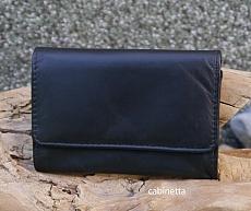 Tabak Stellbeutel Leder Nappa schwarz klein 11x7,5cm