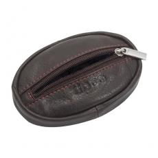 Geldbörse Zippo Leder Mocha nur Münzen oval Reißverschluß 10,5x6,5x2cm