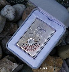 Zippo Lucky Stone Sondermodell mit weißem Stein versilbert