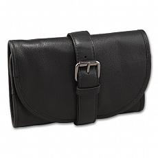 Pfeifen Rollbeutel 2er Leder schwarz 19 x12 cm 37 cm ausgerollt