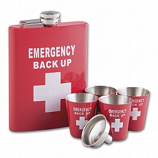 Angelo Flachmann Set 8oz Emergency Back Up rot